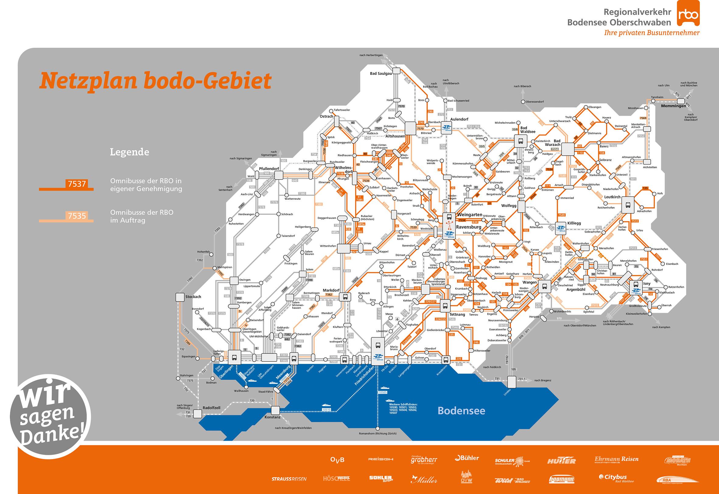 Den privaten Busunternehmern kommt eine große Bedeutung zu. Sie bedienen die orangenen Linien im bodo-Liniennetz.